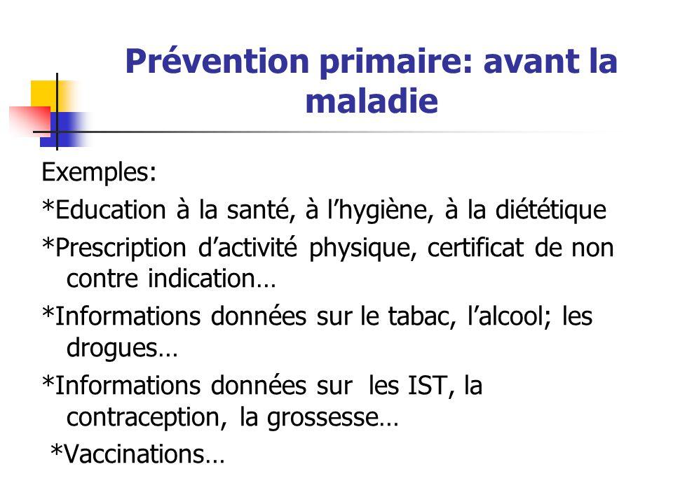 Prévention primaire: avant la maladie Exemples: *Education à la santé, à l'hygiène, à la diététique *Prescription d'activité physique, certificat de n