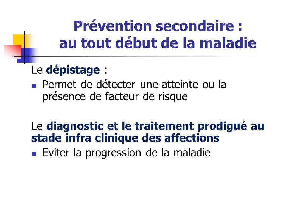 Prévention secondaire : au tout début de la maladie Le dépistage : Permet de détecter une atteinte ou la présence de facteur de risque Le diagnostic e