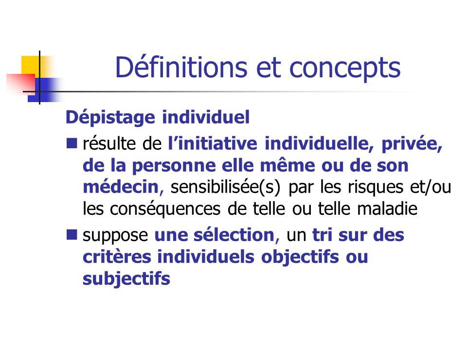 Définitions et concepts Dépistage individuel résulte de l'initiative individuelle, privée, de la personne elle même ou de son médecin, sensibilisée(s)