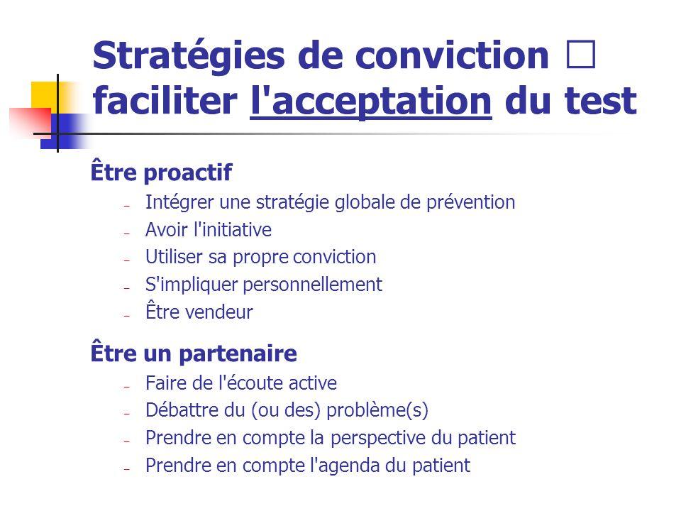 Stratégies de conviction  faciliter l'acceptation du test Être proactif – Intégrer une stratégie globale de prévention – Avoir l'initiative – Utilise