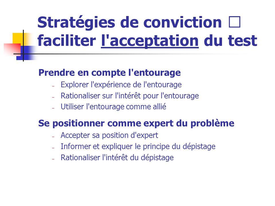 Stratégies de conviction  faciliter l'acceptation du test Prendre en compte l'entourage – Explorer l'expérience de l'entourage – Rationaliser sur l'i