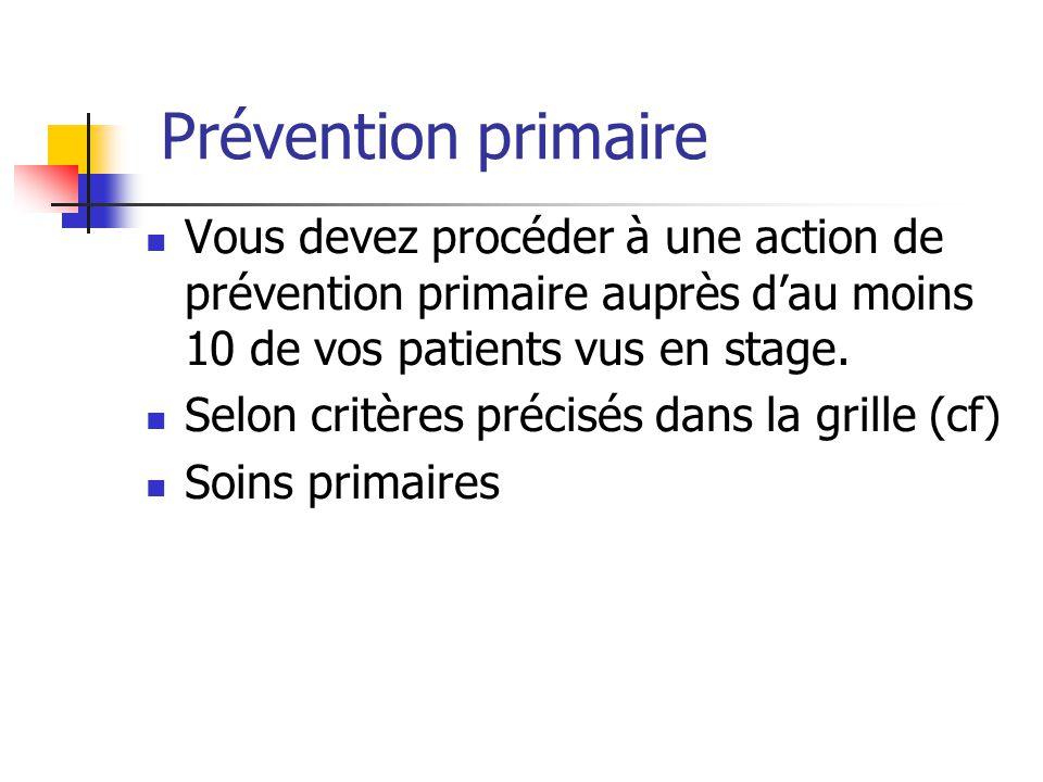 Prévention primaire Vous devez procéder à une action de prévention primaire auprès d'au moins 10 de vos patients vus en stage. Selon critères précisés