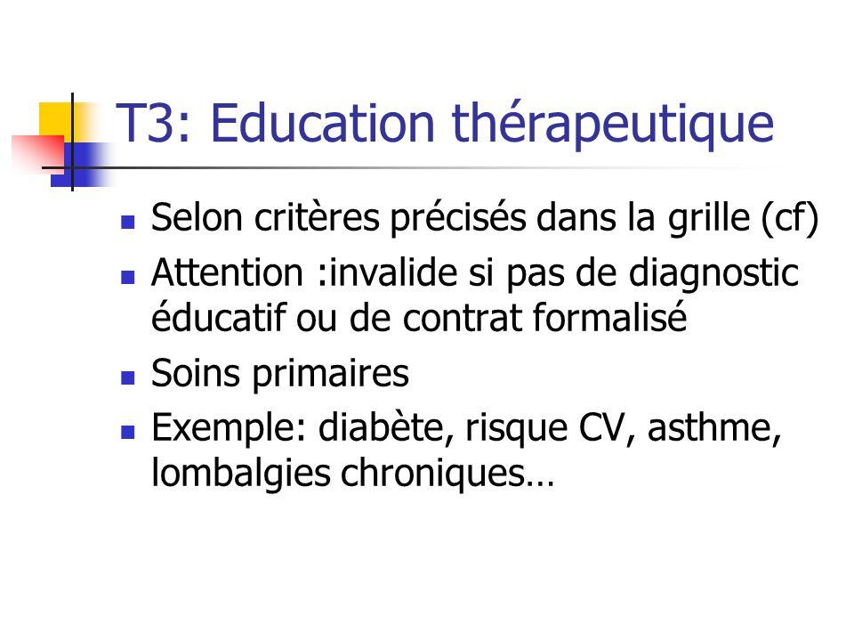T3: Education thérapeutique Selon critères précisés dans la grille (cf) Attention :invalide si pas de diagnostic éducatif ou de contrat formalisé Soin