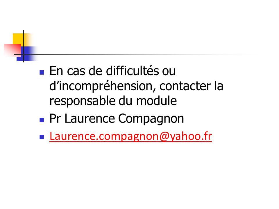 En cas de difficultés ou d'incompréhension, contacter la responsable du module Pr Laurence Compagnon Laurence.compagnon@yahoo.fr