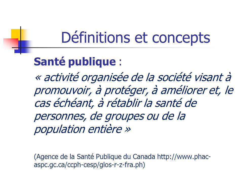 Définitions et concepts Santé publique : « activité organisée de la société visant à promouvoir, à protéger, à améliorer et, le cas échéant, à rétabli