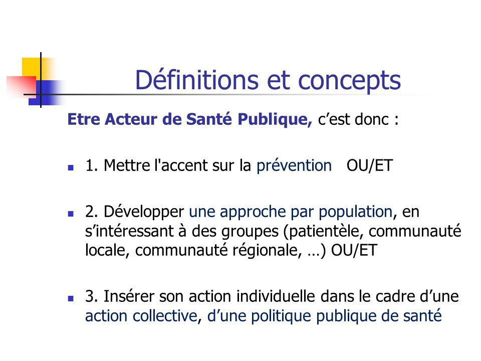 Définitions et concepts Etre Acteur de Santé Publique, c'est donc : 1. Mettre l'accent sur la prévention OU/ET 2. Développer une approche par populati