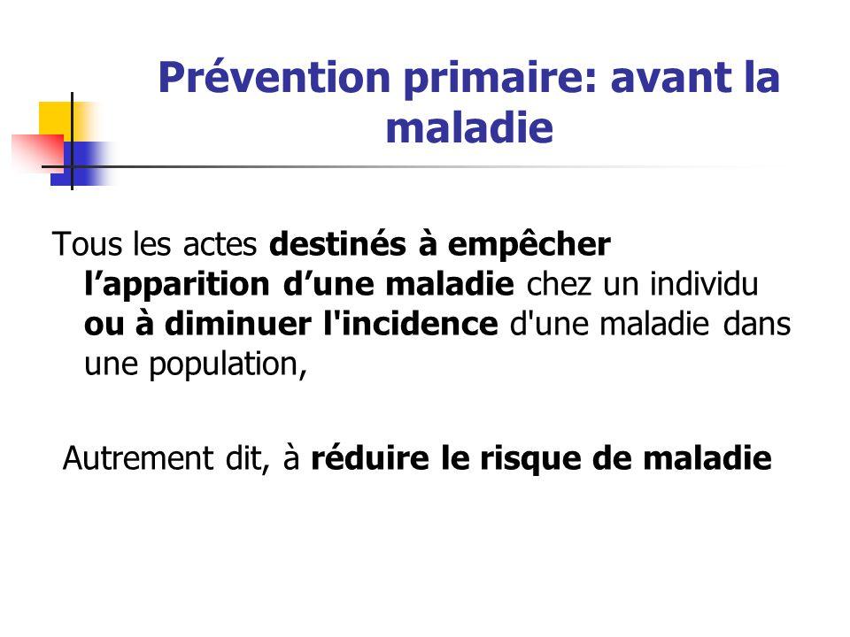 Prévention primaire: avant la maladie Tous les actes destinés à empêcher l'apparition d'une maladie chez un individu ou à diminuer l'incidence d'une m