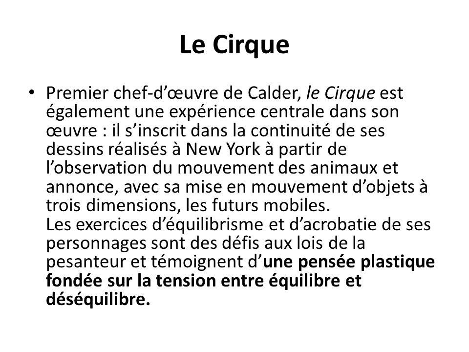 Le Cirque Premier chef-d'œuvre de Calder, le Cirque est également une expérience centrale dans son œuvre : il s'inscrit dans la continuité de ses dess