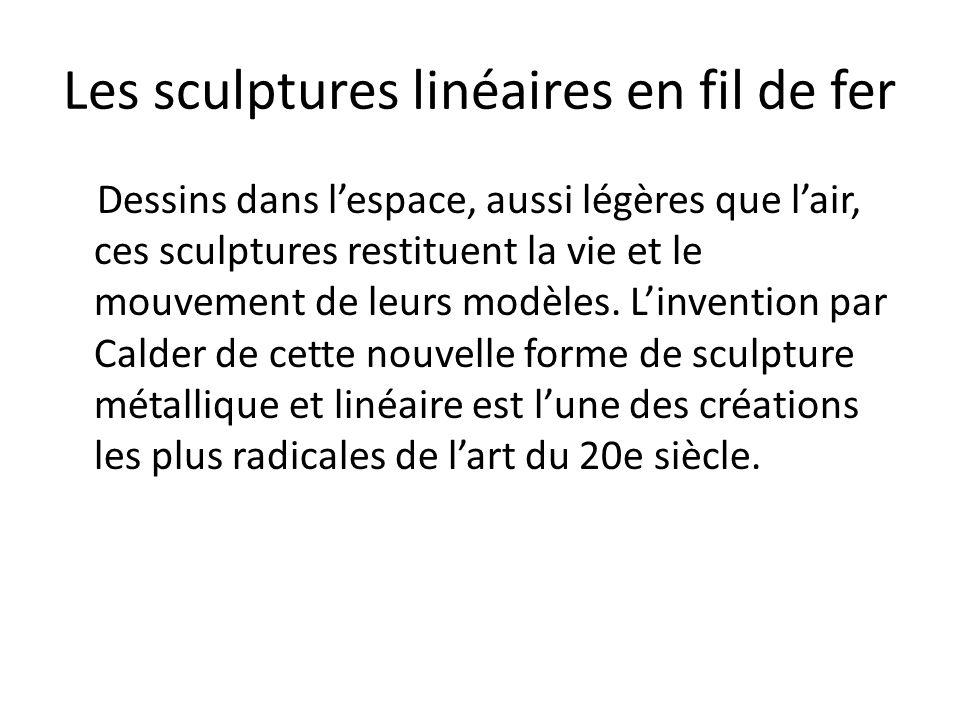 Les sculptures linéaires en fil de fer Dessins dans l'espace, aussi légères que l'air, ces sculptures restituent la vie et le mouvement de leurs modèl