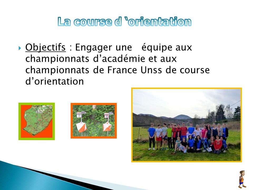 Objectifs : Engager une équipe aux championnats d'académie et aux championnats de France Unss de course d'orientation