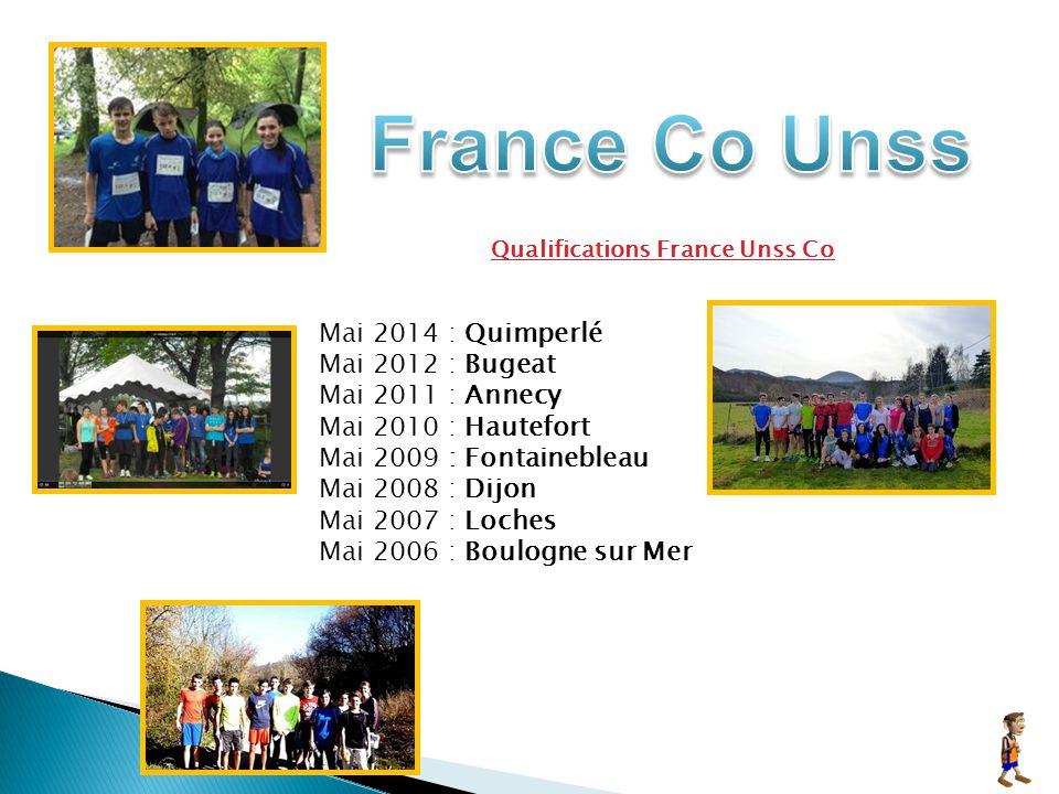 Qualifications France Unss Co Mai 2014 : Quimperlé Mai 2012 : Bugeat Mai 2011 : Annecy Mai 2010 : Hautefort Mai 2009 : Fontainebleau Mai 2008 : Dijon