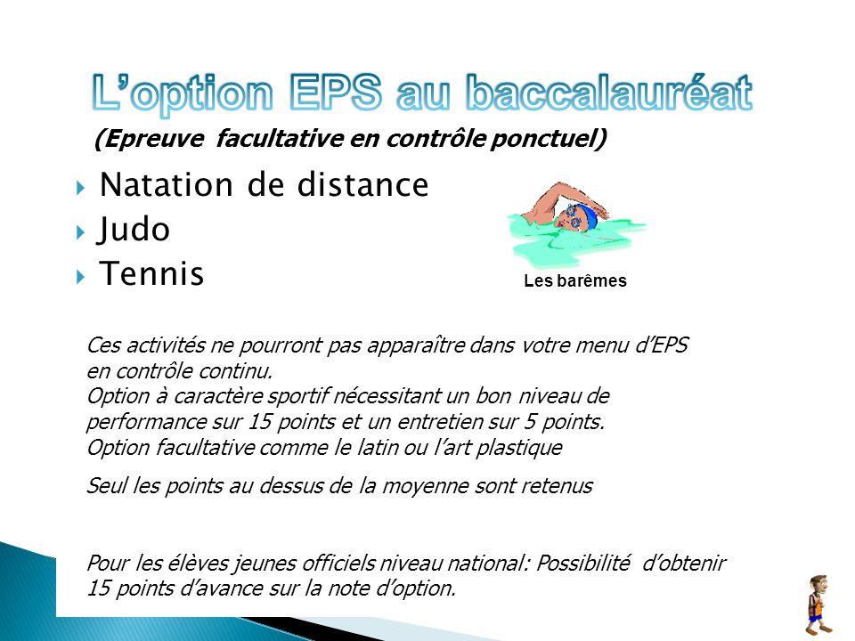  Natation de distance  Judo  Tennis Ces activités ne pourront pas apparaître dans votre menu d'EPS en contrôle continu. Option à caractère sportif