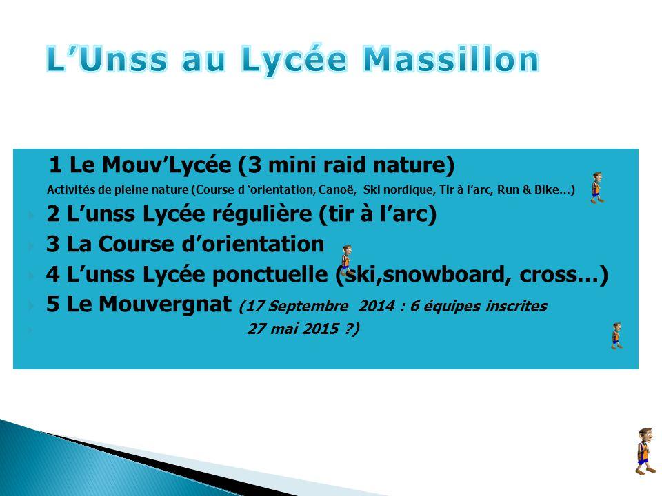 1 Le Mouv'Lycée (3 mini raid nature) Activités de pleine nature (Course d 'orientation, Canoë, Ski nordique, Tir à l'arc, Run & Bike…)  2 L'unss Lycé