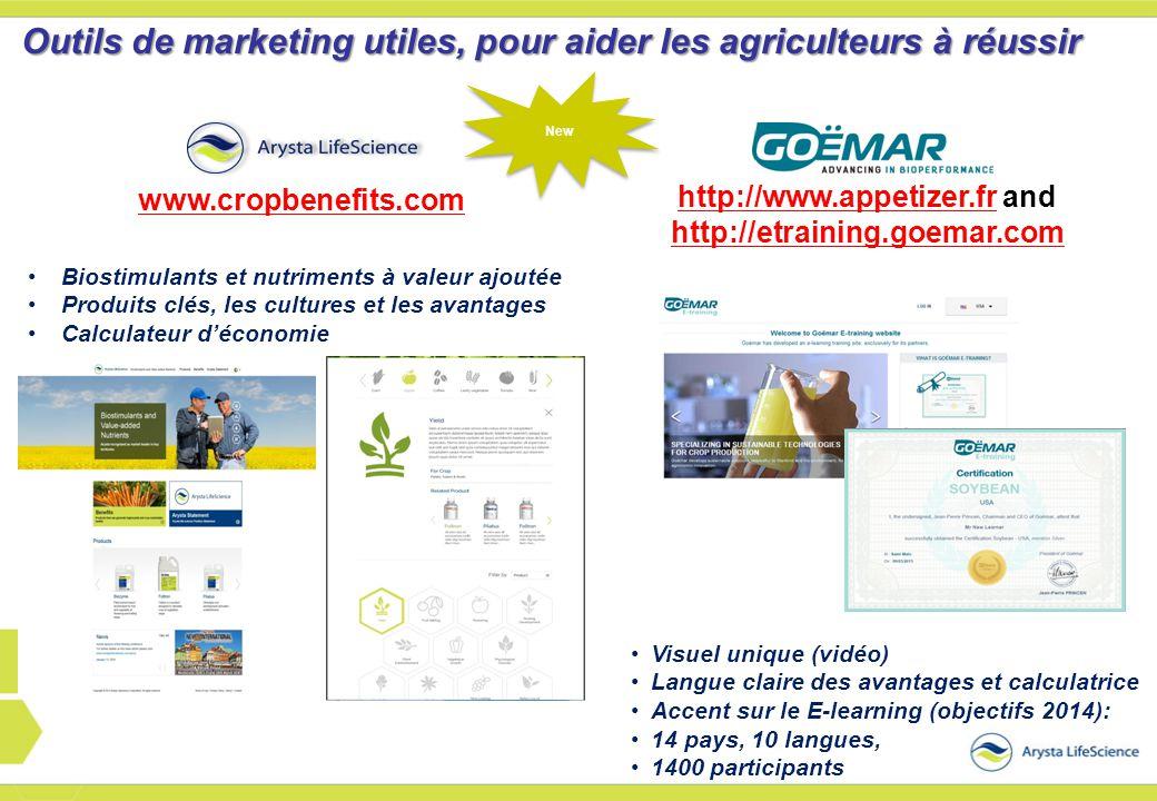Biostimulants et nutriments à valeur ajoutée Produits clés, les cultures et les avantages Calculateur d'économie Outils de marketing utiles, pour aide