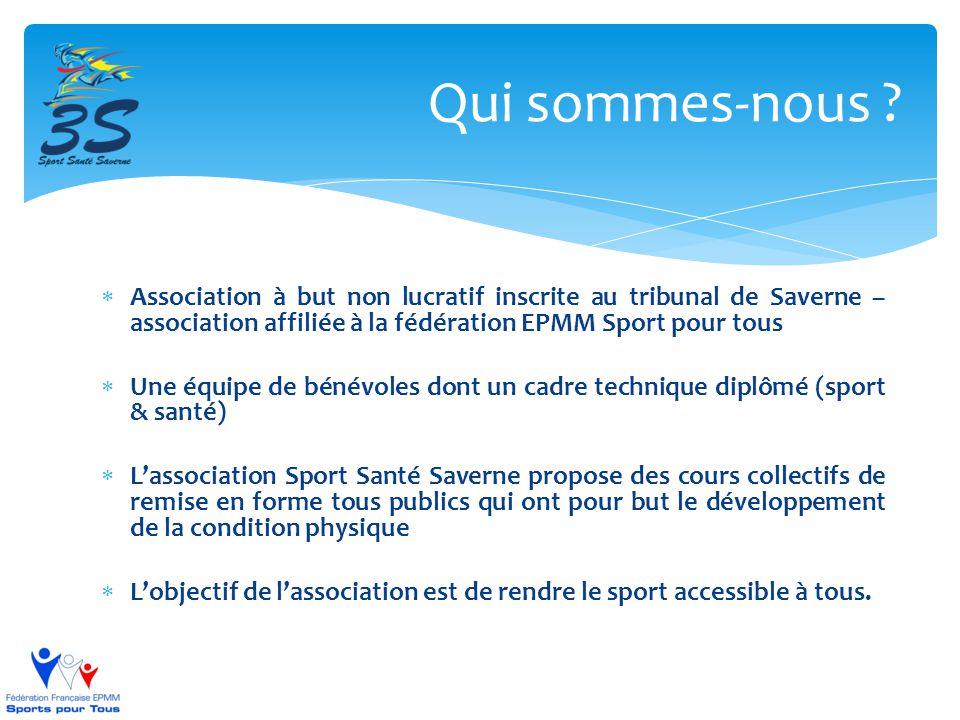  Association à but non lucratif inscrite au tribunal de Saverne – association affiliée à la fédération EPMM Sport pour tous  Une équipe de bénévoles