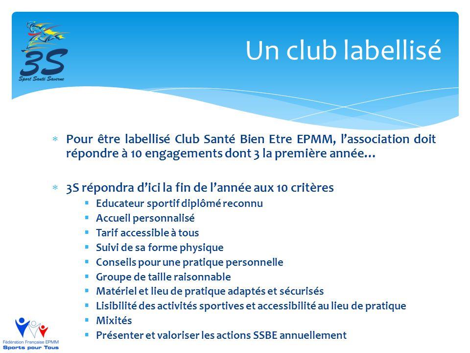  Pour être labellisé Club Santé Bien Etre EPMM, l'association doit répondre à 10 engagements dont 3 la première année…  3S répondra d'ici la fin de