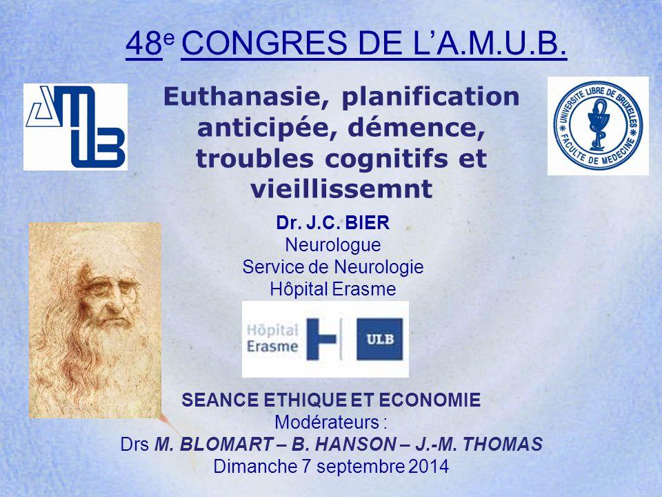 Euthanasie, planification anticipée, démence, troubles cognitifs et vieillissemnt Dr. J.C. BIER Neurologue Service de Neurologie Hôpital Erasme 48 e C