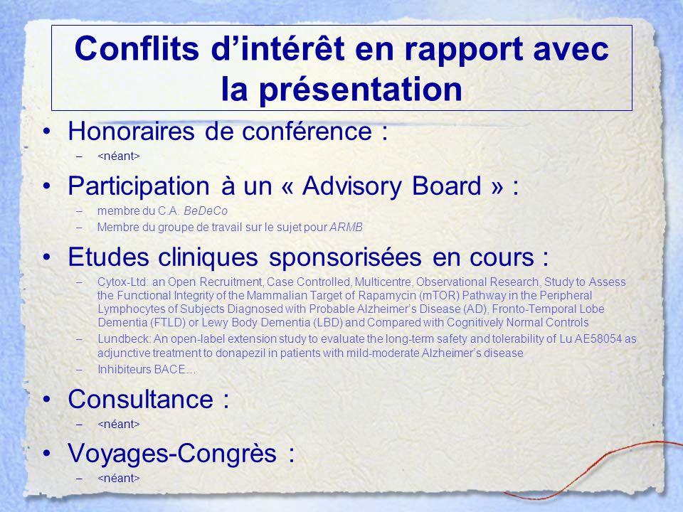 Conflits d'intérêt en rapport avec la présentation Honoraires de conférence : – Participation à un « Advisory Board » : –membre du C.A. BeDeCo –Membre