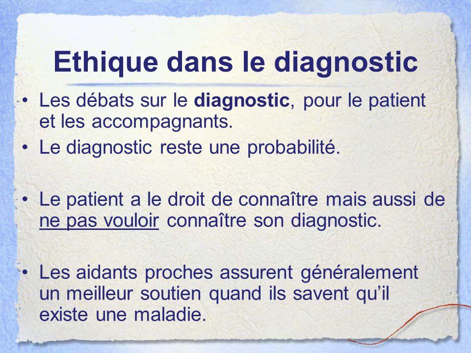 Ethique dans le diagnostic Les débats sur le diagnostic, pour le patient et les accompagnants. Le diagnostic reste une probabilité. Le patient a le dr