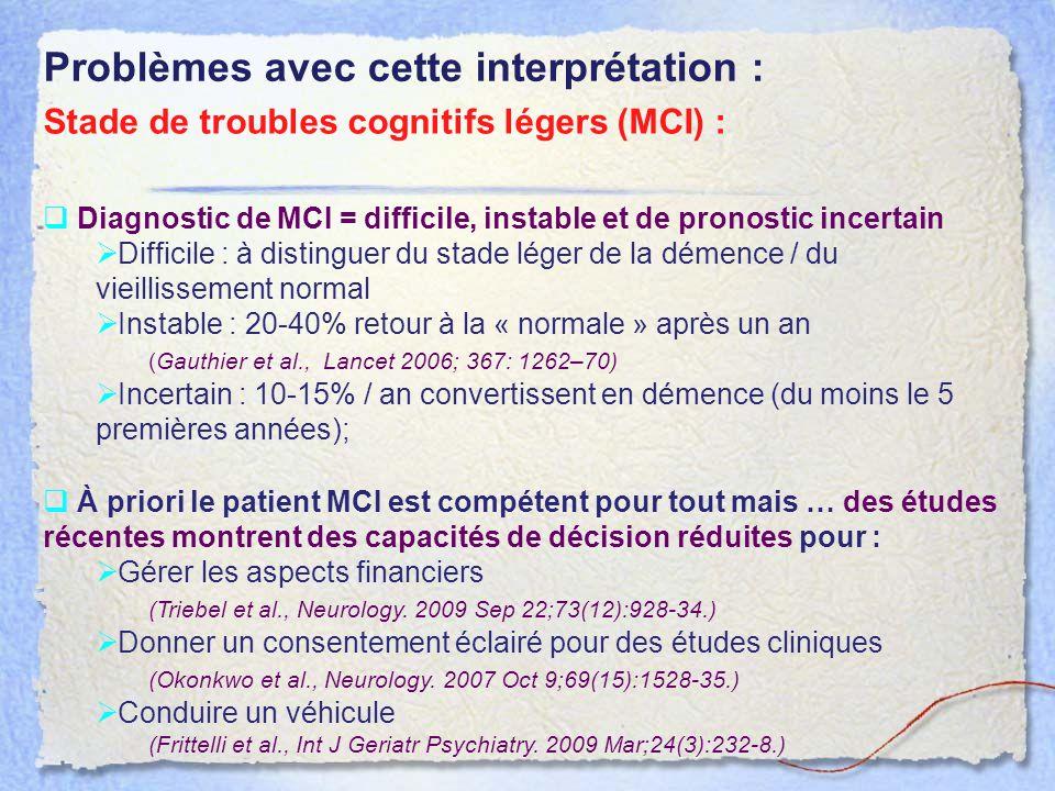  À priori le patient MCI est compétent pour tout mais … des études récentes montrent des capacités de décision réduites pour :  Gérer les aspects fi