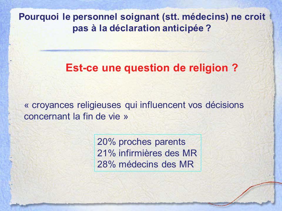 Pourquoi le personnel soignant (stt. médecins) ne croit pas à la déclaration anticipée ? Est-ce une question de religion ? « croyances religieuses qui