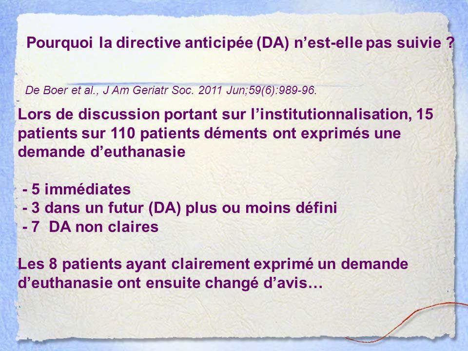 Pourquoi la directive anticipée (DA) n'est-elle pas suivie ? De Boer et al., J Am Geriatr Soc. 2011 Jun;59(6):989-96. Lors de discussion portant sur l