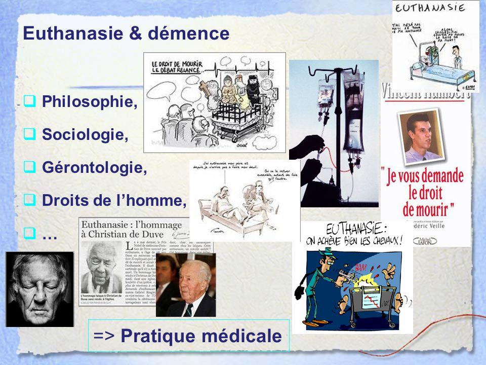 « L acte pratiqué par un tiers qui met intentionnellement fin à la vie d une personne à la demande de celle-ci » Loi relative à l'euthanasie: historique 12 mai 1997 : 1er avis du comité de bioéthique 22 juin 2002 Publication au Moniteur Belge (22 sept 2002 Entrée en vigueur) SUISSE (suicide assisté art 114), OREGON (1997), WASINGTON (1999), VERMONT (2013) OREGON PAYS BAS (2001), BELGIQUE(2002), Luxembourg (2009)