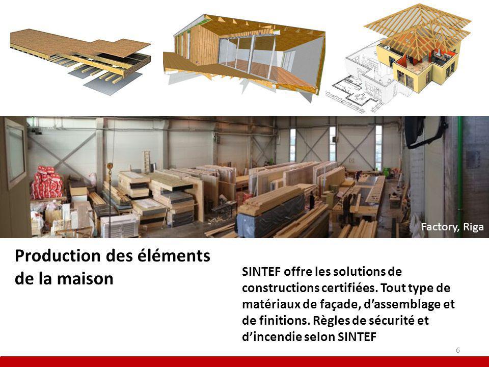 Production des éléments de la maison SINTEF offre les solutions de constructions certifiées.
