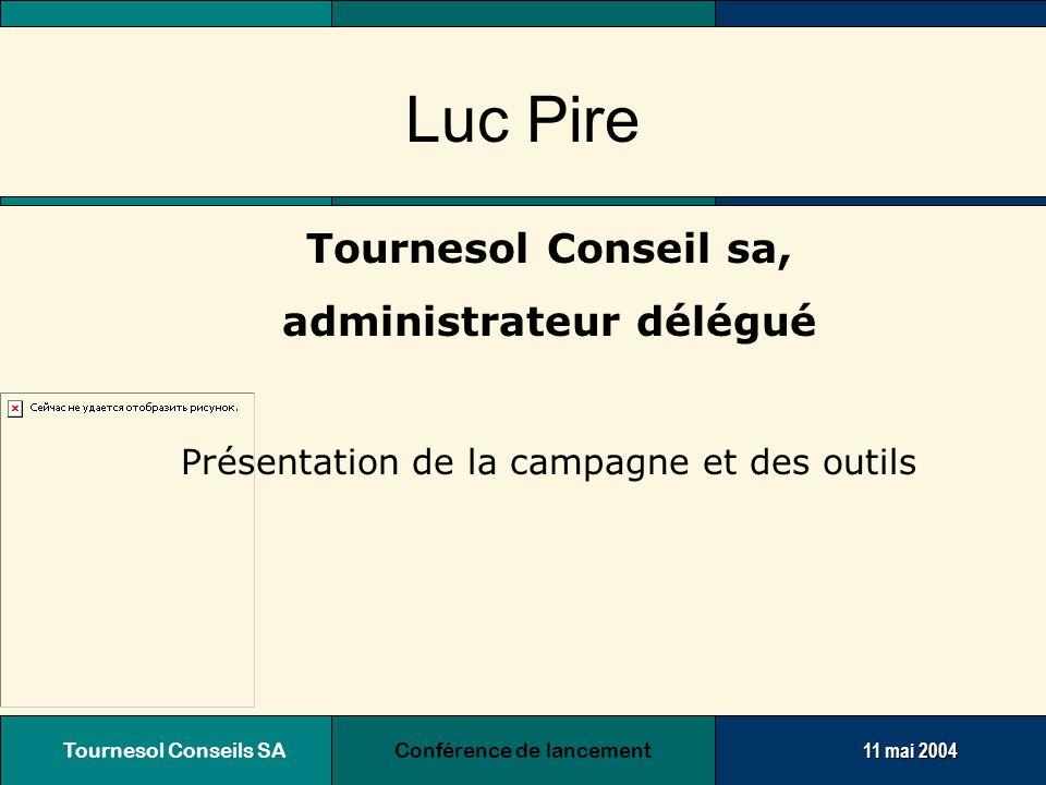 Tournesol Conseils SA Conférence de lancement11 mai 2004 Stratégie de communication Une méthode avant tout  Enquête auprès des Aides Familiales  Tenir compte de leur avis  Les associer à la campagne de communication