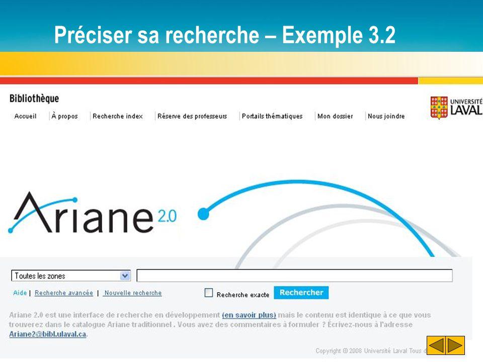 Préciser sa recherche – Exemple 3.2
