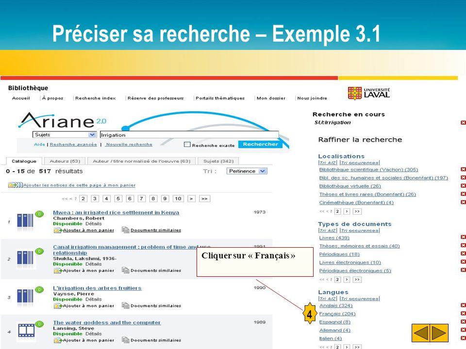 Préciser sa recherche – Exemple 3.1 4 Cliquer sur « Français »