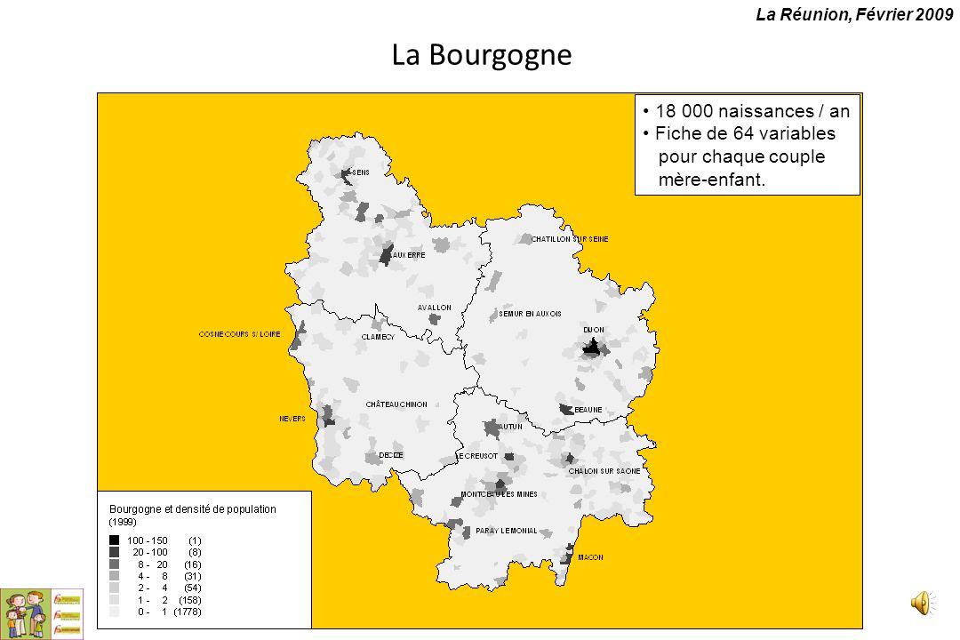 La Bourgogne 18 000 naissances / an Fiche de 64 variables pour chaque couple mère-enfant. La Réunion, Février 2009