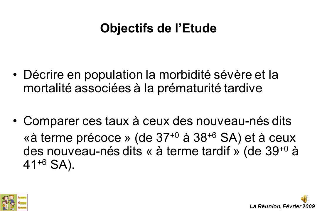 Objectifs de l'Etude Décrire en population la morbidité sévère et la mortalité associées à la prématurité tardive Comparer ces taux à ceux des nouveau