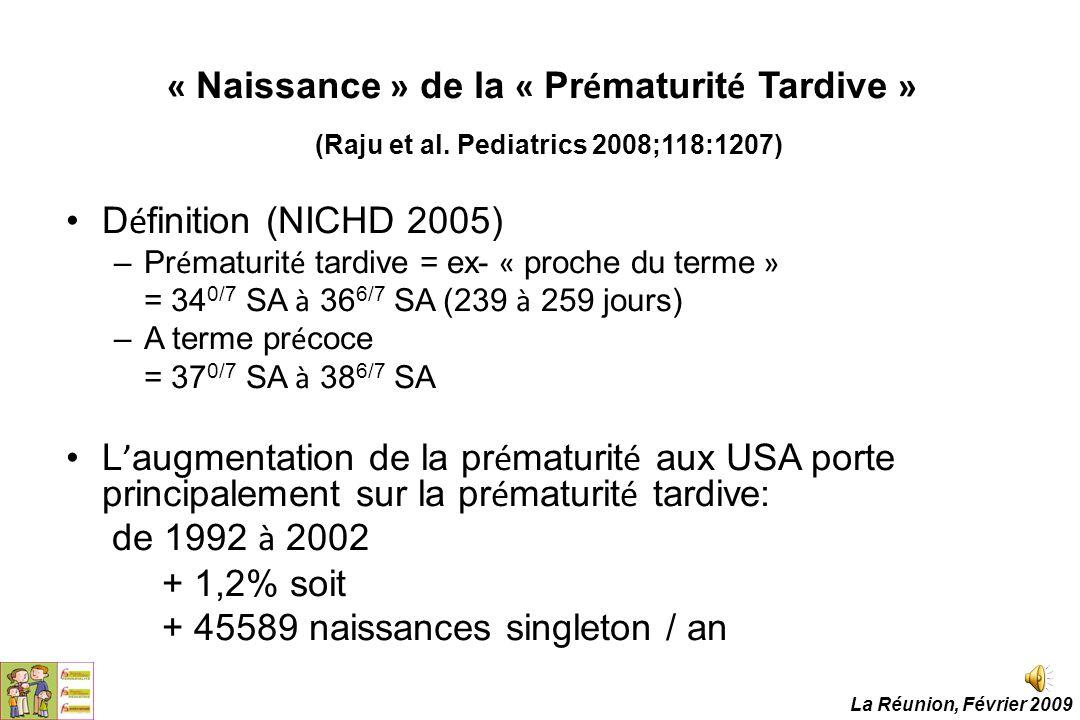 « Naissance » de la « Pr é maturit é Tardive » (Raju et al. Pediatrics 2008;118:1207) D é finition (NICHD 2005) –Pr é maturit é tardive = ex- « proche