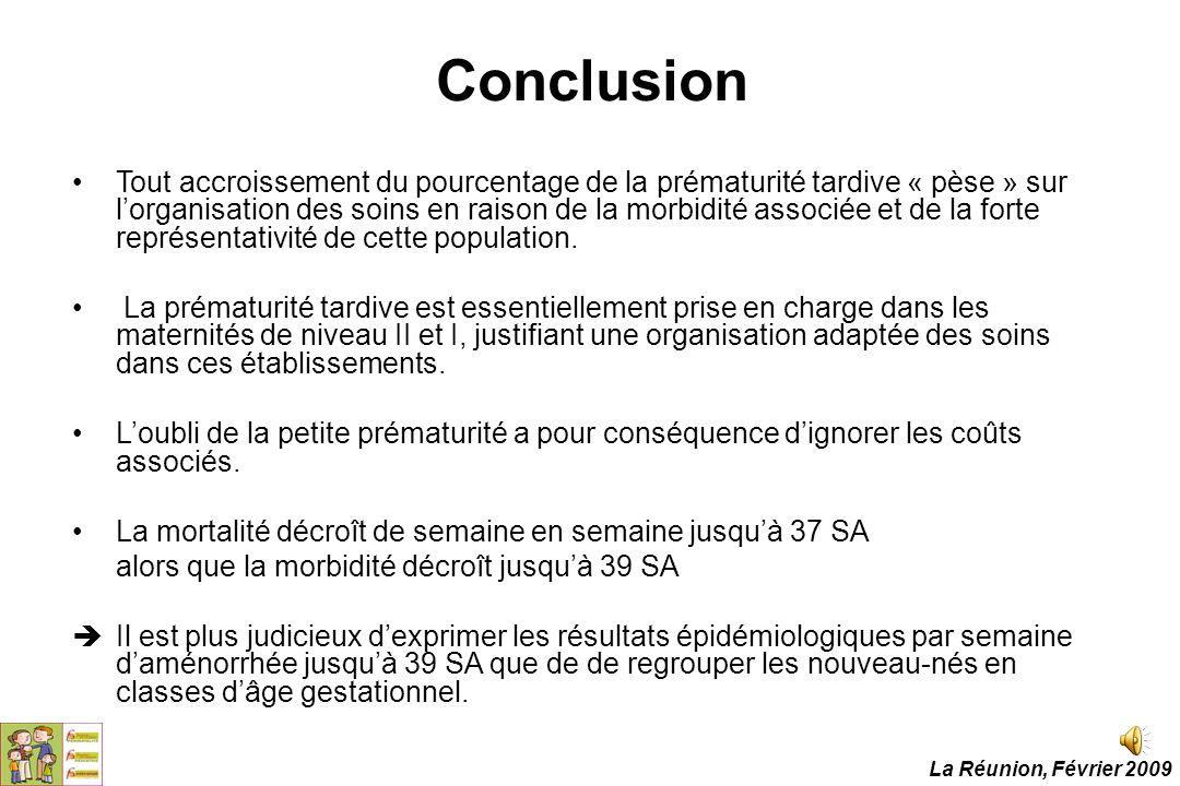 Conclusion Tout accroissement du pourcentage de la prématurité tardive « pèse » sur l'organisation des soins en raison de la morbidité associée et de