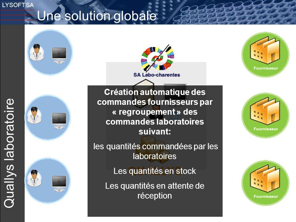 12 LYSOFT SA Quallys laboratoire QUALLYS Une solution globale Création automatique des commandes fournisseurs par « regroupement » des commandes labor