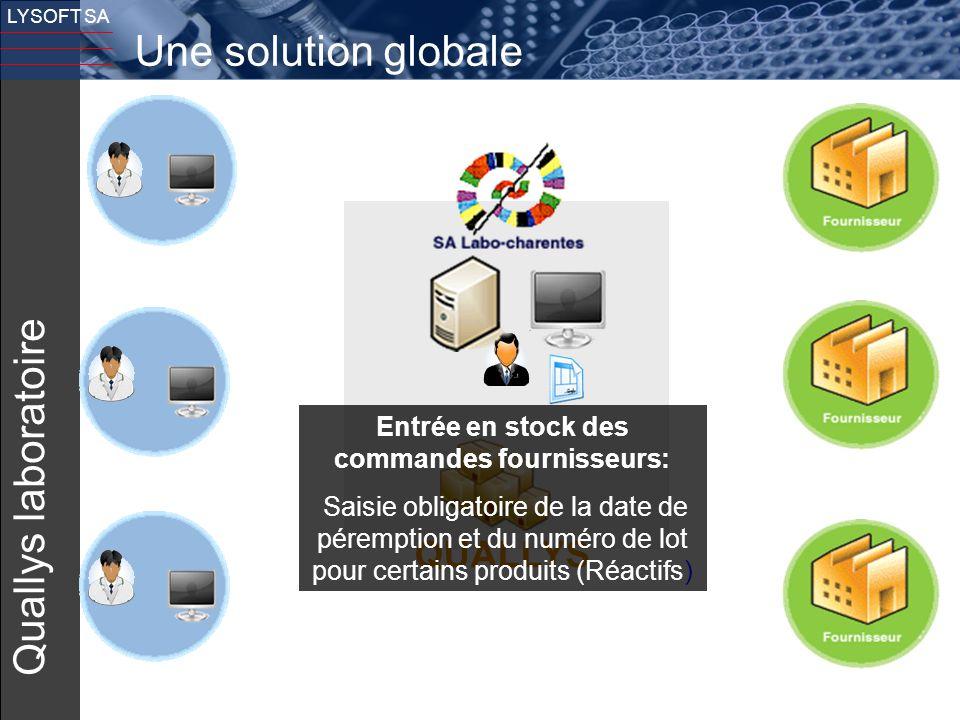 13 LYSOFT SA Quallys laboratoire QUALLYS Une solution globale Entrée en stock des commandes fournisseurs: Saisie obligatoire de la date de péremption