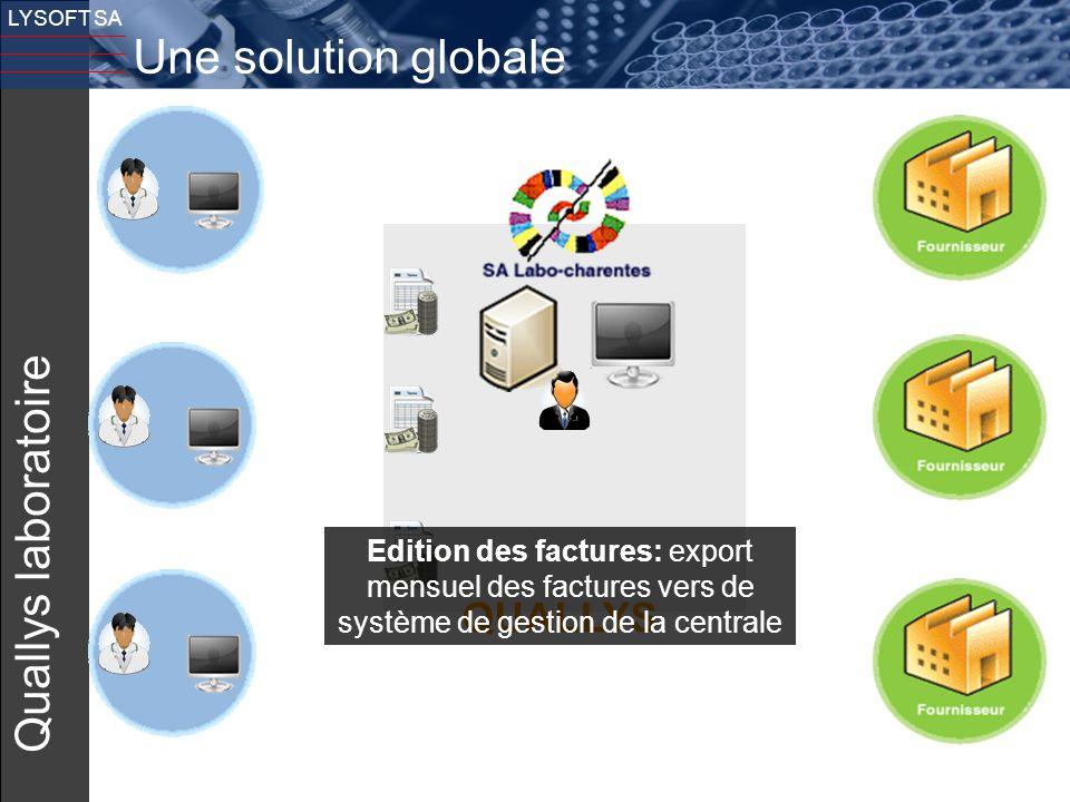 16 LYSOFT SA Quallys laboratoire QUALLYS Edition des factures: export mensuel des factures vers de système de gestion de la centrale Une solution glob