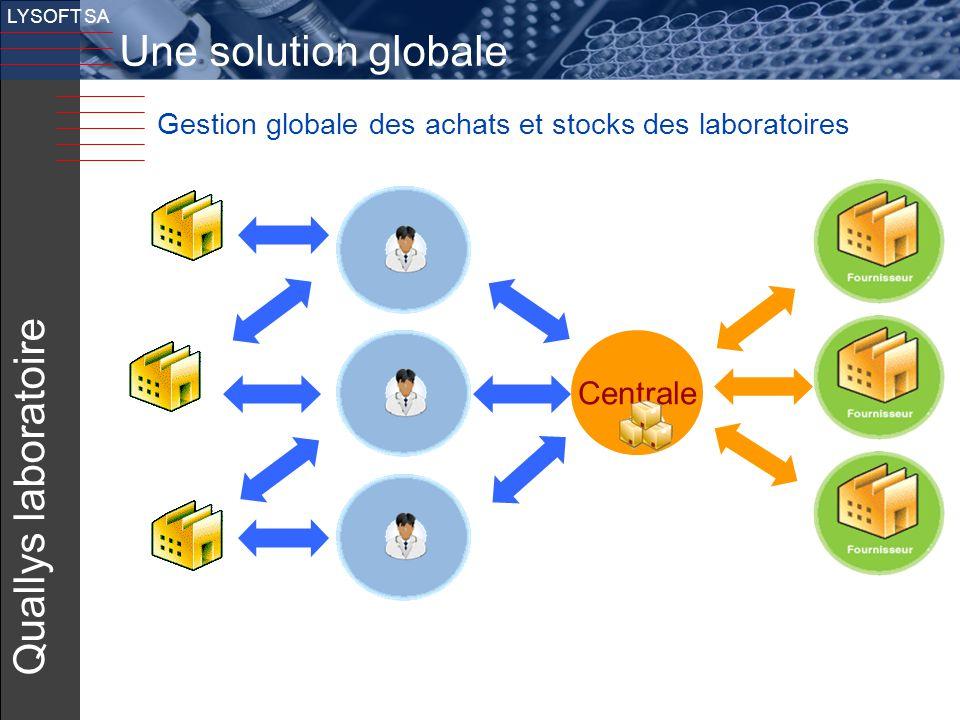 19 v LYSOFT SA Gestion globale des achats et stocks des laboratoires Quallys laboratoire Centrale Une solution globale