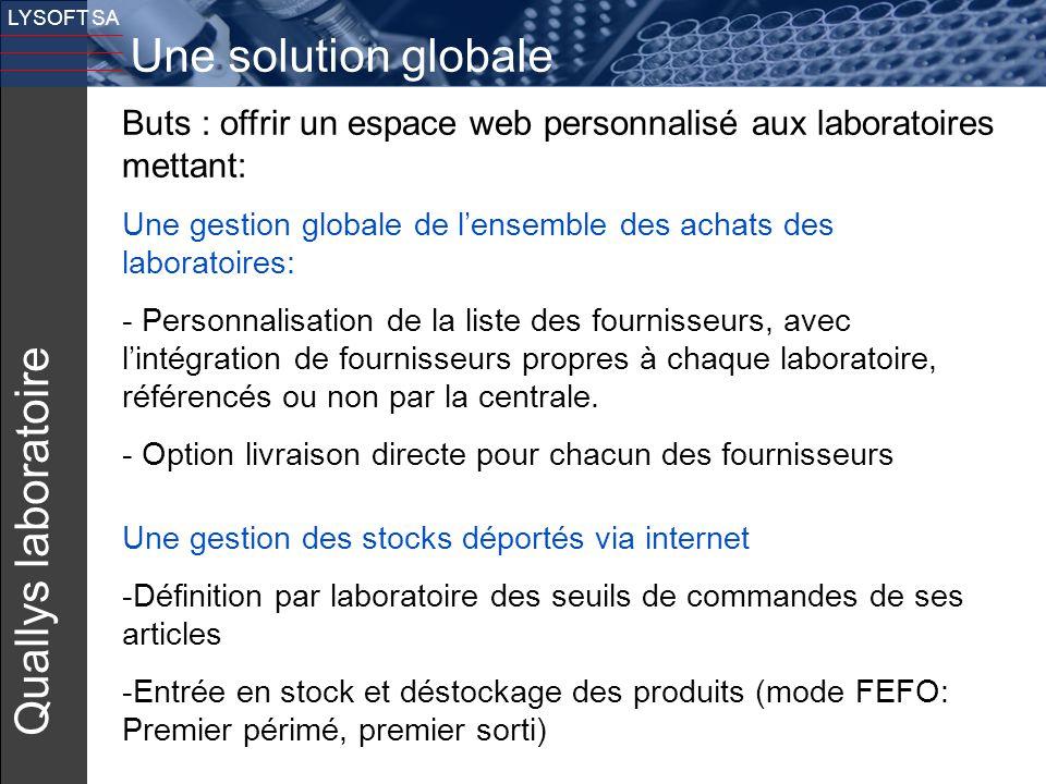21 LYSOFT SA Quallys laboratoire Buts : offrir un espace web personnalisé aux laboratoires mettant: Une gestion globale de l'ensemble des achats des l