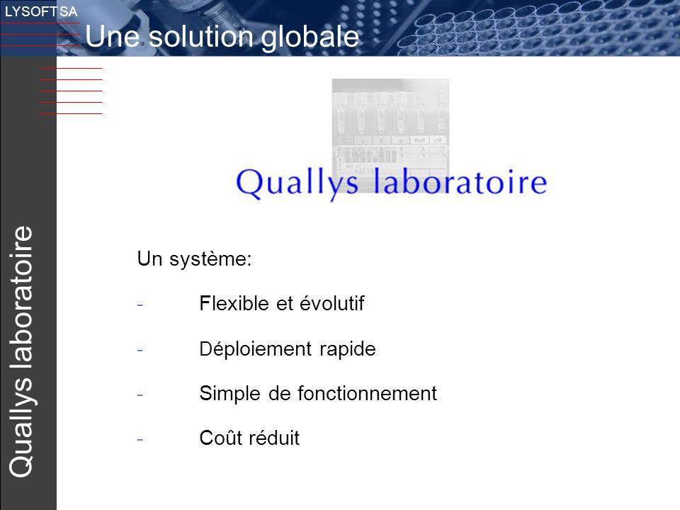 23 v LYSOFT SA Quallys laboratoire Un système: - Flexible et évolutif -Dé ploiement rapide - Simple de fonctionnement - Coût réduit Une solution globa