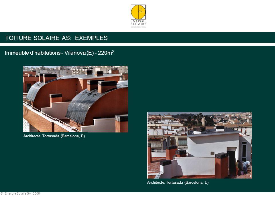 © Energie Solaire SA 2005 TOITURE SOLAIRE AS: EXEMPLES Immeuble d'habitations - Vilanova (E) - 220m 2 Architecte: Tortasada (Barcelona, E)