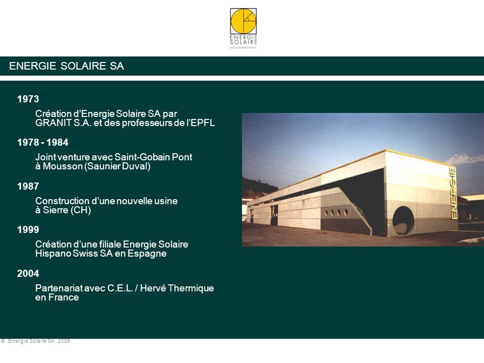 © Energie Solaire SA 2005 ENERGIE SOLAIRE SA 1973 Création d'Energie Solaire SA par GRANIT S.A. et des professeurs de l'EPFL 1978 - 1984 Joint venture
