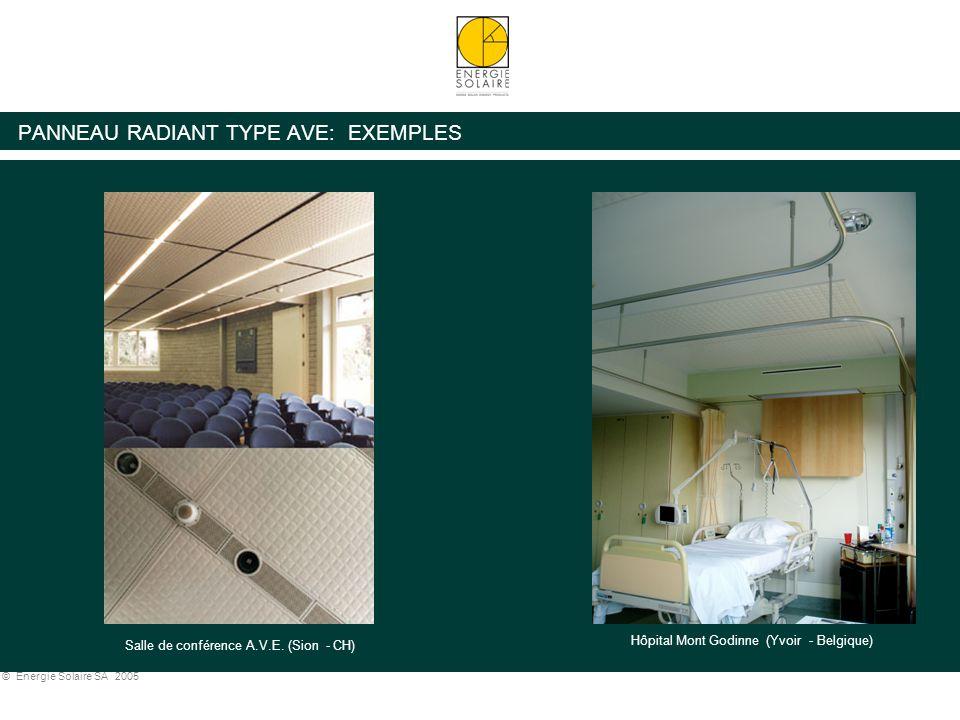 © Energie Solaire SA 2005 PANNEAU RADIANT TYPE AVE: EXEMPLES Hôpital Mont Godinne (Yvoir - Belgique) Salle de conférence A.V.E. (Sion - CH)