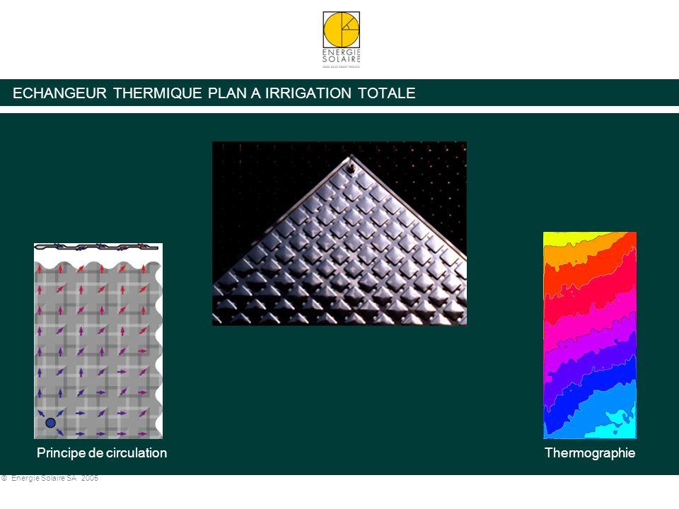 © Energie Solaire SA 2005 ECHANGEUR THERMIQUE PLAN A IRRIGATION TOTALE Principe de circulationThermographie