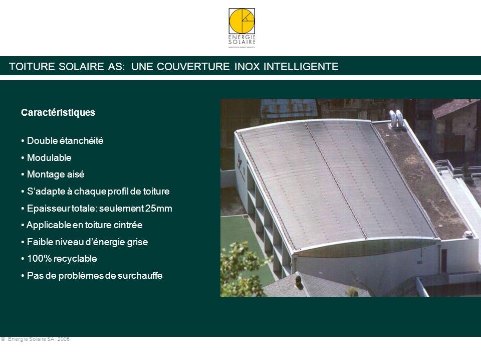 © Energie Solaire SA 2005 TOITURE SOLAIRE AS: COURBE DE RENDEMENT x= (Tm-Ta) / I Exemple: Tm = 40 °C, Ta = 10°C, I = 900W => x= 0.03 => Rendement Toiture Solaire AS = 65% Courbe de rendement capteur plan vitré conventionnel Courbe de rendement Toiture Solaire AS (SPF C420)