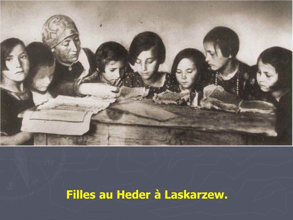Enfants au Heder - Lublin -1924. L'enseignant utilise un pointeur spécial pour enseigner l'alphabet hébreu.