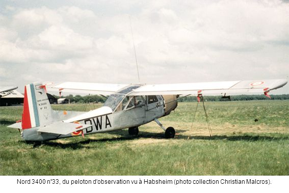 Nord 3400 n°33, du peloton d'observation vu à Habsheim (photo collection Christian Malcros).