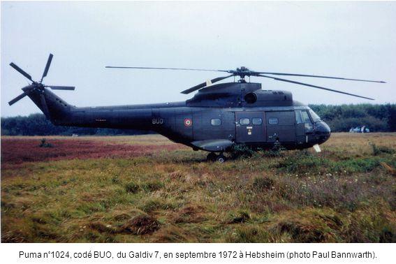 Puma n°1024, codé BUO, du Galdiv 7, en septembre 1972 à Hebsheim (photo Paul Bannwarth).