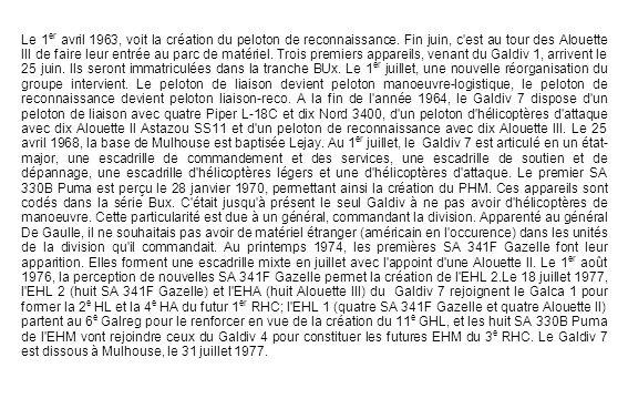 Présentation de l escadrille HL du Galdiv 7.